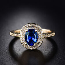 18K Gold Filled Oval Blue Sapphire Round White Topaz Wedding Ring Size 7/8/9/10