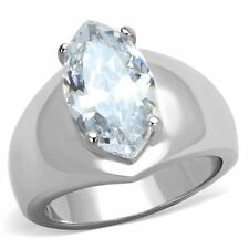 3.44 CT MARQUISE SOLITAIRE CUBIC ZIRCONIA STAINLESS STEEL ENGAGEMENT RING