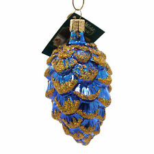 Old World Christmas PONDEROSA PINE Glass Ornament Cone Pinecone 48012 Blue