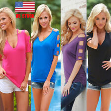 US Women Hollow out Cold Shoulder Slim V Neck Casual Tops Blouse Tee Shirts S-XL