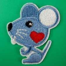 Mouse Heart Love Animal Iron on Sew Patch Applique Badge Embroidered Cute Motif