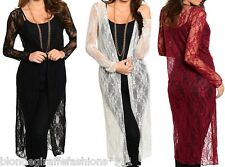 MeshLace Open Front Long Sleeve Tunic Cardigan/Cover-Up S M L