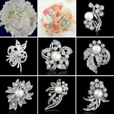 Women Crystal Rhinestone Flower Pearl Brooch Pin Bouquet Wedding Bridal Jewelry