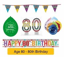 AGE 80 - Happy 80th Birthday Party Banners, Balloons & Decorations
