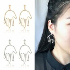 1Pair Women Silver/Gold Plated Hollow Palm Drop Dangle Earrings Simple Jewelry