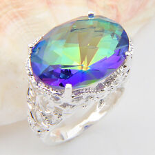 Attractive Gift Huge Stone Rainbow Mystic Fire Topaz Gems SIlver Ring Sz 7 8 9