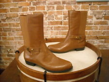 Isaac Mizrahi Trolley Saddle Brown Leather Mid-Calf Riding Boots NEW
