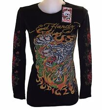 New Women's Ed Hardy Long Sleeve Specialty T Shirt Black Stretch Flaming Tiger