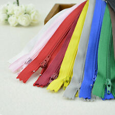 10X Assorted CONCEALED INVISIBLE NYLON ZIPS SEWING CLOSED END ZIPPERS 22CM Fad