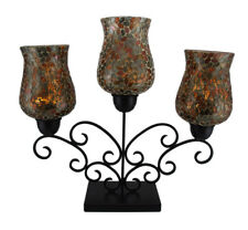 Metallic Mosaic Glass Triple Cup Candelabra Candle Holder