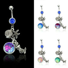 Cool Mermaid Navel Ring Dangle Belly Button Bar Ring Body Piercing Jewelry