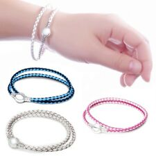 Women Jewelry 925 Silver Color Leather Bracelet Chain Fit Sterling Charms Beads