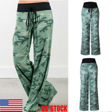 US Women Camouflage High-Waist Pants Yoga Sport Gym Wide Leg Loose Long Trousers