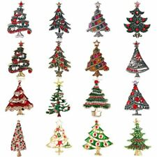 New Christmas Tree Crystal Shirt collar Brooch Pin Xmas Party Gift Women Jewelry