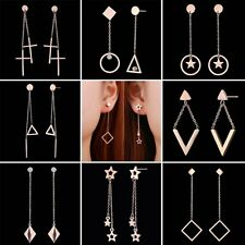 Women Fashion Rose Gold Stainless Steel Geometry Hollow Star Drop Earrings Gift