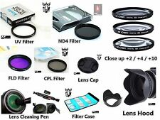 NP9 62mm Lens Hood Cap Pen Filter Set UV CPL FLD ND4 Close Up +2 +4 +10 Bundle