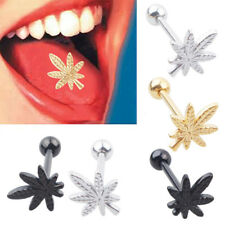 Fashion Leaf Barbell Tongue Ring Stainless Steel Body Piercing Jewelry Striking