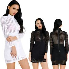 Sexy Women's Long Sleeve Mesh-See Bandage Bodycon Club Party Cocktail Mini Dress