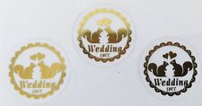 60- Classic Round Shape Squirrel Wedding Envelope Stickers/Seals-Gold or Silver