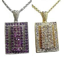 Purple Gold Crystal Diamante Fancy Dress Party Gift Necklace Pendant Jewellery