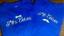 Custom Mr. and Mrs. Couple T-shirts Mustache & Bow Your Last Name - $30 a SET