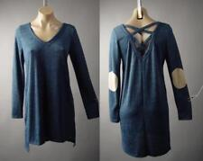 Dark Blue Criss Cross Cage Back Elbow Patch Sweater Long Top 241 mv Tunic M L