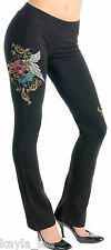Black 'Love Forever' Winged Rose Lounge/Sweat Pants S