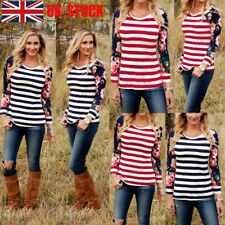 UK Women Floral Long Sleeve Blouse Striped Tops Casual T-Shirt O Neck Autumn Tee