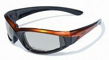 Orange Padded Motorcycle Sunglasses-TRANSITION PHOTOCHROMIC or Flash Mirror Lens