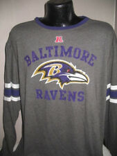 NFL Baltimore Ravens Football Long Sleeve Team Logo T Shirt Mens Majestic Gray