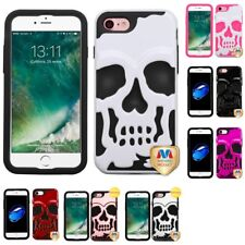 For Apple iPhone 8 Hybrid Skull Skeleton Impact Hard Soft Case Cover