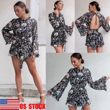 US Women Floral Beach Jumpsuit Flared Sleeve Playsuit Backless Short Mini Romper