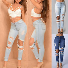 Womens Stretch Ripped Skinny Denim Hole Pencil Pants Casual Slim Jeans Trousers