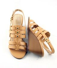 Light Tan Awesome Cutie Strappy Caged Low Mid Wedge Huarache Gladiator Sandals