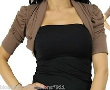 Light Brown Ruched Short Sleeve Cropped Bolero/Shrug/Cover-Up