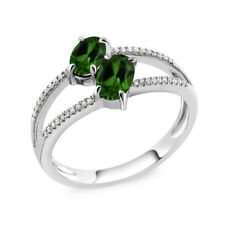 10K White Gold 1.18 Ct Green Chrome Diopside Two Stone Engagement Ring