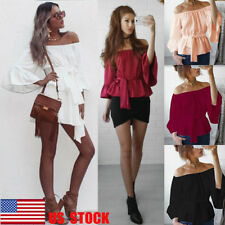 US Women Chiffon Top Off Shoulder Casual Club Shirt Lace Up Flared Sleeve Blouse
