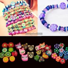 100pcs colorful Fimo Polymer Clay Fruit Spacer Beads for Bracelets Pendant ED