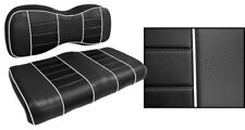 Golf Cart Custom Front Seat Covers BLACK with WHITE ACCENTS Club Car EZGO Yamaha
