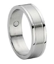 Men's 8mm Satin Finish Stainless Steel Wedding Ring with Polished Edges and Inl
