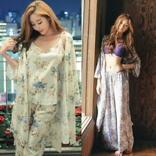 Floral Printed 3 Pieces Pajama Set Camisole Pants Cardigan Style Tops Sleepwear