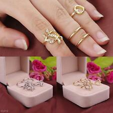 Hot Europe 4 Pcs Ring Set Diamond Leaves Heart Electroplate Alloy Knuckle Rings