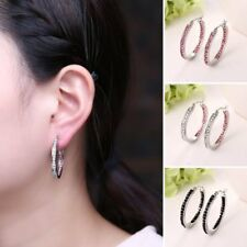 Fashion Circle White Gold Plating Crystal Hoop Earrings Women Lady Jewelry New