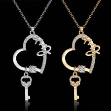 Women Silver/Gold Plated Hollow Heart Love Key Pendant Necklace Wedding Jewelry