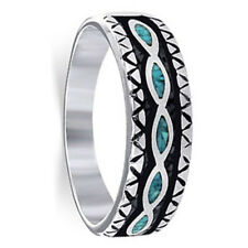 Sterling Silver Turquoise Gemstone Inlay Southwestern Band #TBRS008