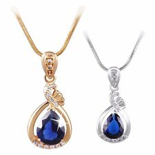 Fashion Pear Blue Sapphire Design Pendant Gold Filled Snake Chain Necklace 18""