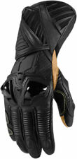 Icon Mens Stealth Black Leather Hypersport Pro Motorcycle Long Gloves