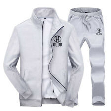 Men Casual Sports Tracksuit Zip Up Jackets + Trousers Athletic Apparel Sweats