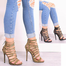 LADIES WOMENS PARTY HIGH HEEL LACE UP ZIP CAGED PLATFORM SANDAL FASHION SHOES