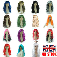 UK Women Halloween Cosplay Long Wig Wavy Curly Mix Color Hair Costume Full Wig
